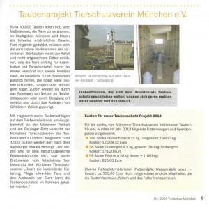 Tierheim München Taubenkosten 2013